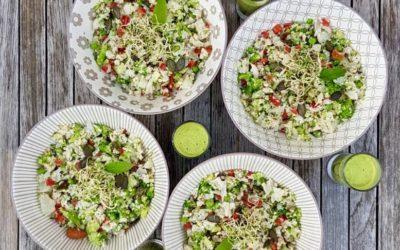 Taboulé cru de chou-fleur et brocolis sans gluten